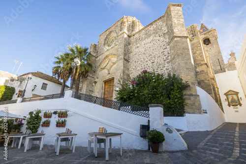 Foto auf Gartenposter Historisches Gebaude Vejer de la Frontera, Spain. Iglesia del Divino Salvador (Church of the Holy Savior), main church of Vejer, a classic Andalusian Pueblo Blanco (White Town) in the province of Cadiz