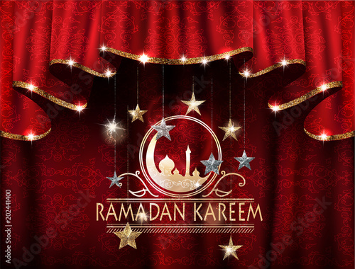 Ramadan kareem greeting card with hanging stars and curtains with arabic print on the background. Vector illustration