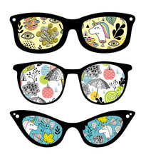 Creative Set Of Retro Sunglasses With Pattern Reflection.
