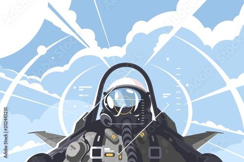 Fotomural Fighter pilot in cockpit