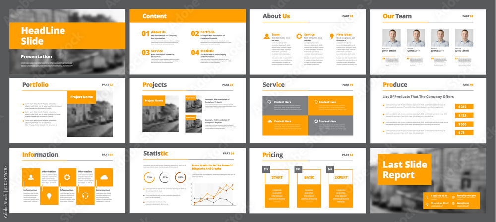 Fototapeta Template of white vector slides for presentations and reports with orange rectangles and squares.