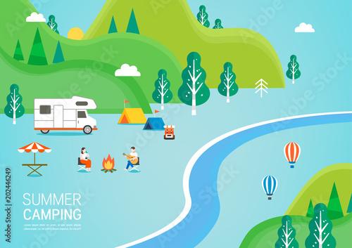 Spoed Foto op Canvas Pool Summer travel illustration
