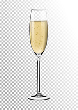 Realistic Glossy Transparent Glass Full Of Champagne. Bright Saturated Sparkling Straw Colored Amber. Vector Illustration In Photorealistic Style.