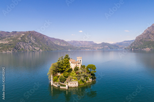 Fotografie, Obraz  Loreto island, lake of Iseo in Italy. Aerial photo.