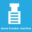 stone breaker machine icon isolated on blue background