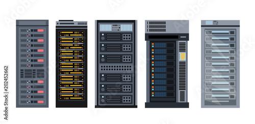 Fotomural  Vector illustration set of various cartoon server racks, different types of server rack collection of elements in flat design