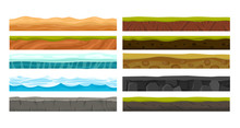 Vector Illustration Set Of Grounds For Ui Game. Collection Of Various Land Foreground Area, Rocks, Water, Ice And Underground Patterns On White Background In Flat Style.
