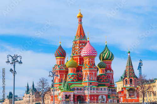 Tuinposter Moskou Saint Basil's Cathedral at Red Square in Moscow, Russia