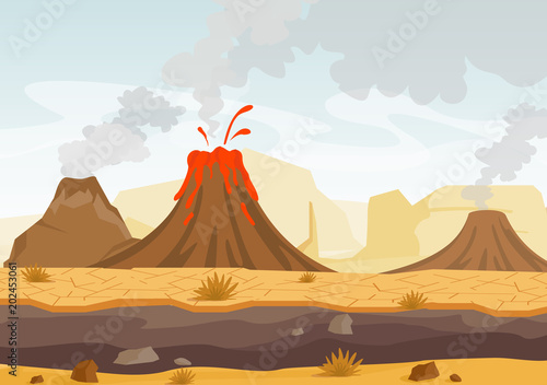 Valokuva Vector illustration of prehistoric landscape with volcano eruption, lava and smoky sky, landscape with mountains and volcanoes in flat cartoon style
