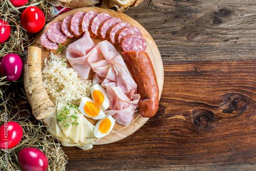 Poster Buffet, Bar Brettljausn - Wurst und Käse Platte - Jause