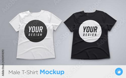 Fotomural  White and Black men's t-shirt realistic mockup