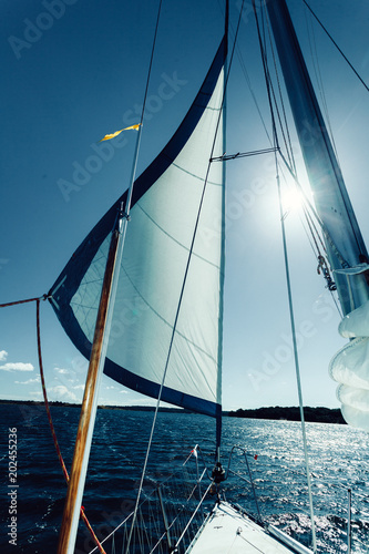 Foto Detailed closeup of sail on sailboat