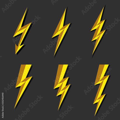 Lightning Thunderbolt Icon Vector Flash Symbol Illustration Lighting Flash Icons Set Flat Style On Dark Background Silhouette And Lightning Bolt Icon Set Of Yellow Icons Storm Buy This Stock Vector And Explore Similar Vectors