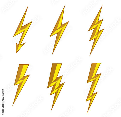 Lightning Thunderbolt Icon Vector Flash Symbol Illustration Lighting Flash Icons Set Flat Style On White Background Silhouette And Lightning Bolt Icon Set Of Yellow Icons Storm Buy This Stock Vector And Explore Similar Vectors