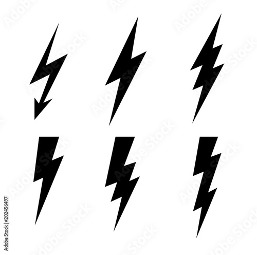 Obraz Lightning thunderbolt icon vector.Flash symbol illustration.Lighting Flash Icons Set. Flat Style on Dark Background.Black silhouette and lightning bolt icon. Set of yellow icons storm - fototapety do salonu