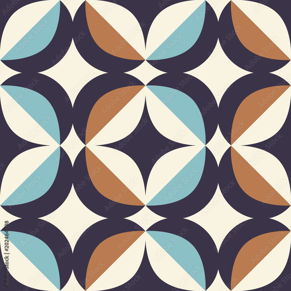 seamless retro pattern in scandinavian style with geometric elements