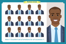 Set Of Male Facial Emotions.Black American Business Man Character With Different Expressions.Vector Illustration In Cartoon Style.Peoples Faces, Men, Person. Male Characters.