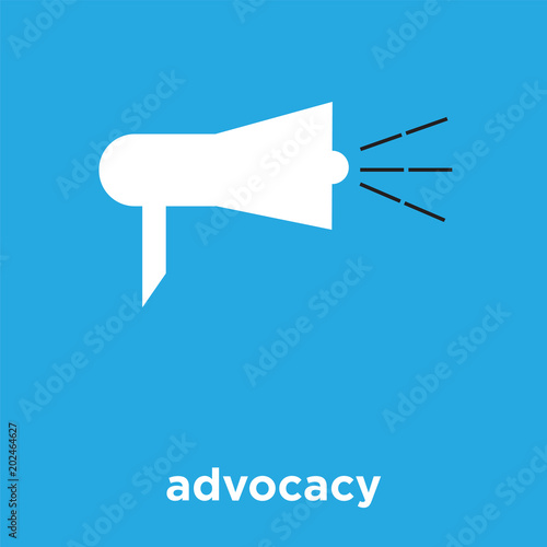 advocacy icon isolated on blue background Canvas Print
