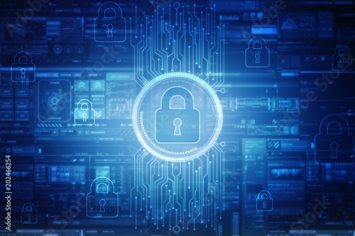 2d illustration Safety concept: Closed Padlock on digital background Poster