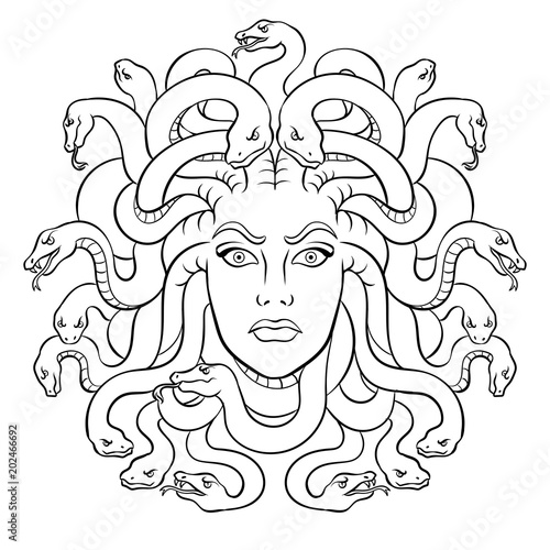 Medusa greek myth creature coloring vector Canvas Print