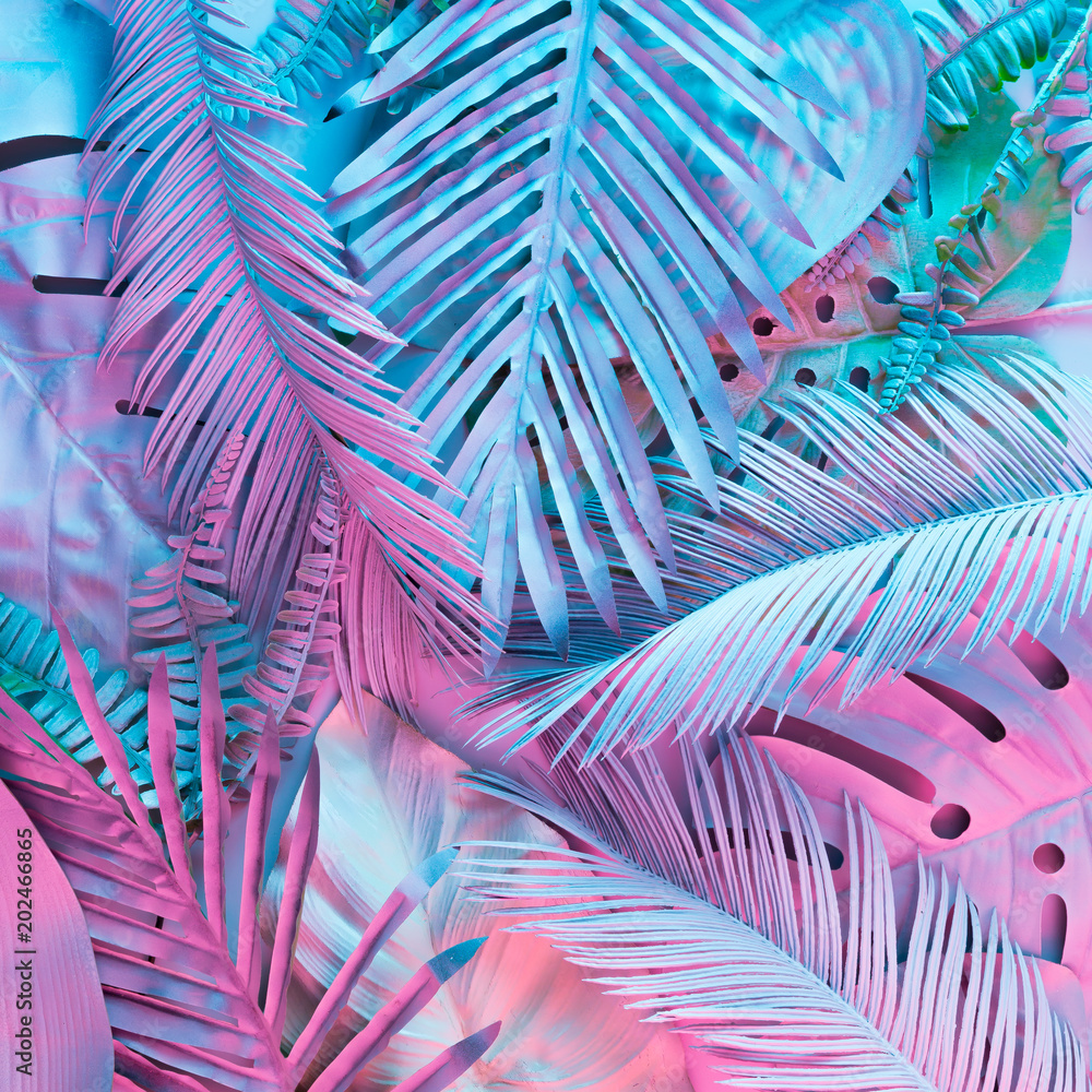 Fototapety, obrazy: Tropical and palm leaves in vibrant bold gradient holographic neon  colors. Concept art. Minimal surrealism background.