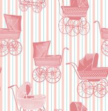 Vintage Baby Strollers Seamles...
