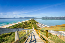 Amazing Wooden View Point Over Small Green Island Sandy Beach Shore With Turquoise Blue Water Of Southern Ocean On A Warm Sunny Blue Sky Day, The Neck, Bruny Island, Tasmania, Australia - 11-18-2017