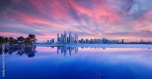 Recess Fitting Dubai Wunderschöner Sonnenuntergang über das Zentrum Dubais. Fotografiert von