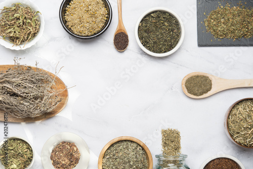 Various herbal infusions, chamimile, mint, rooibos, thyme, green tea, tisane