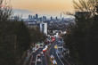UK, London, panoramic view of the city with busy street on foreground at sunset