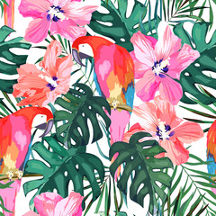 Tropical seamless pattern. Palm tree leave, flower hibiscus and parrot. Watercolor  vector illustration. Summer background