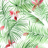 Fototapeta Sypialnia - Watercolor palm leaves and tropical flowers pattern. Green exotic background for your design.