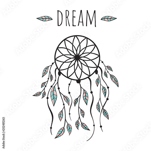 Obraz na płótnie Vector illustration in Scandinavian style dream catcher