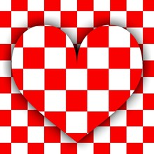 Heart Symbol On A Red And White Checkerboard Background.
