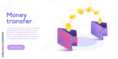 Fotografia, Obraz  Money transfer from and to wallet in isometric vector design