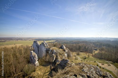 Rocky landscape in Poland. Touristic route of Eagle's Nests between Cracow and Czestochowa.