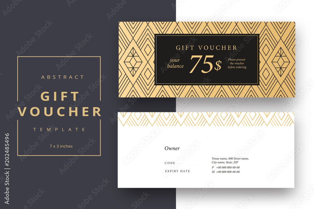 Fototapety, obrazy: Trendy abstract gift voucher card templates. Modern discount coupon or certificate layout with artistic stroke pattern. Vector fashion bright background design with information sample text.