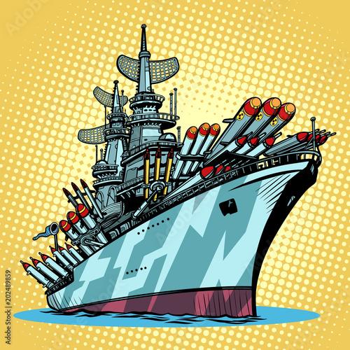 battleship warship, missile cruiser Fototapete