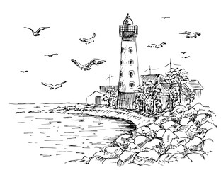 Fototapeta Morze Landscape Lighthouse. Sea and seagulls sketch. Hand painted lighthouse and the sea. Rocky shore graphics. Vector illustration.