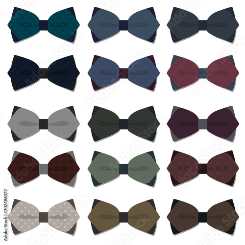 Canvas Print set of bow tie in vector on white background