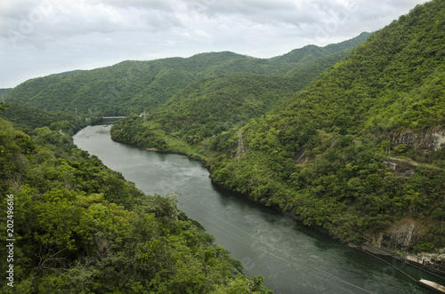 Printed kitchen splashbacks River View landscape of mountain and forest with Bhumibol Dam in Tak, Thailand