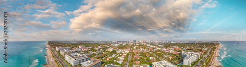 Panoramic aerial view of Palm Beach oceanfront at sunset, Florida