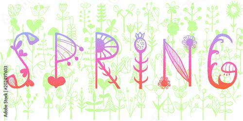Fotografie, Obraz  Spring - hand drawn lettering vegetative