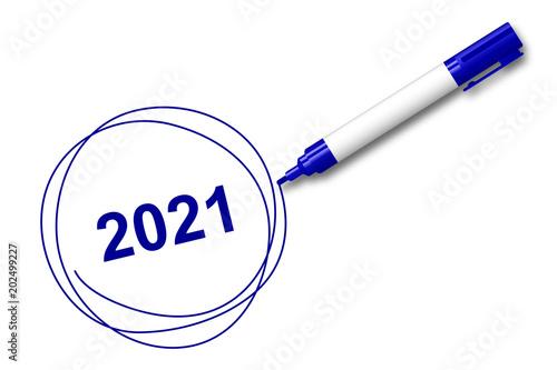 Fotografia  blauer Filzstift kreist ein - 2021