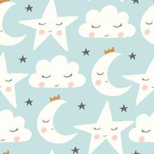 Vector Sleepy Moon, Cloud, Sta...