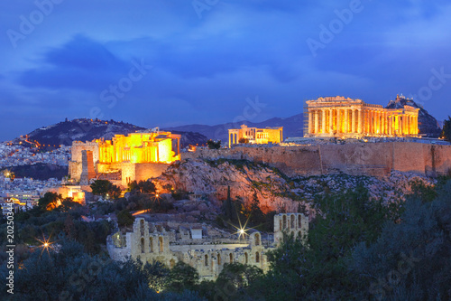 Printed kitchen splashbacks Athens Aerial view of the Acropolis Hill, crowned with Parthenon during evening blue hour in Athens, Greece