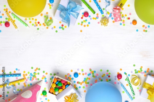 Birthday Party Caps Blowers Gifts Colorful Balloons Serpentine And Confetti On White