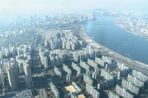 Keuken foto achterwand New York Landscape seoul city and han river, South Korea