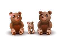 Family Of Toy Teddy Bears, Mom, Father, And Daughter. Vector Illustration