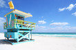 canvas print picture - Lifeguard hut in South Beach, Florida